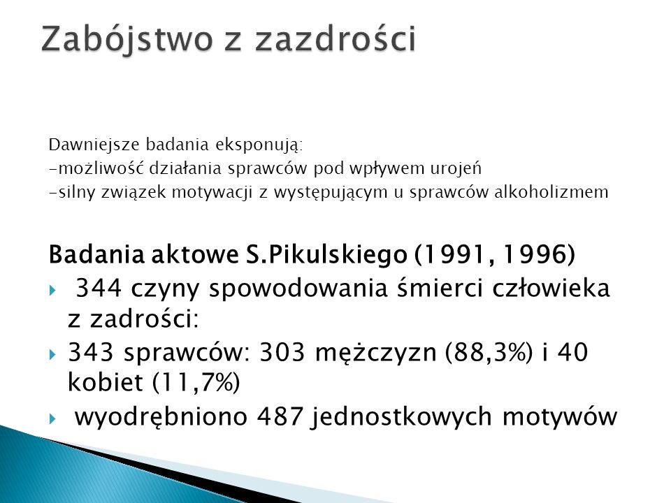 Zabójstwo z zazdrości Badania aktowe S.Pikulskiego (1991, 1996)