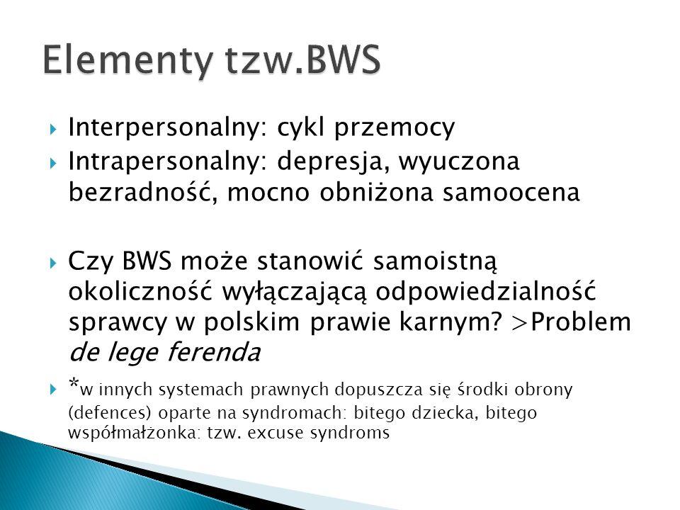 Elementy tzw.BWS Interpersonalny: cykl przemocy
