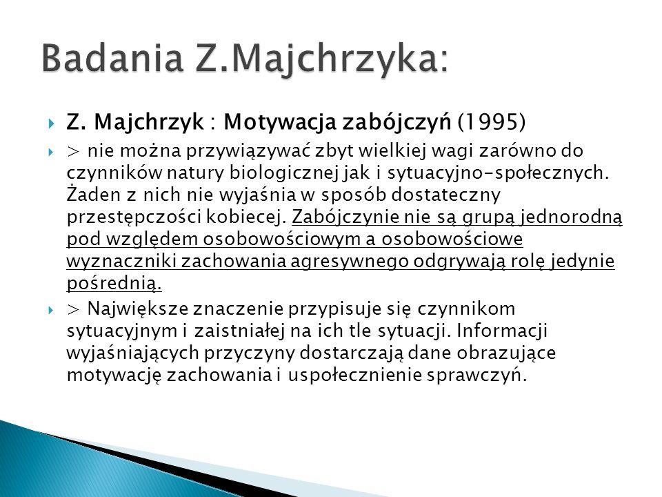 Badania Z.Majchrzyka: Z. Majchrzyk : Motywacja zabójczyń (1995)