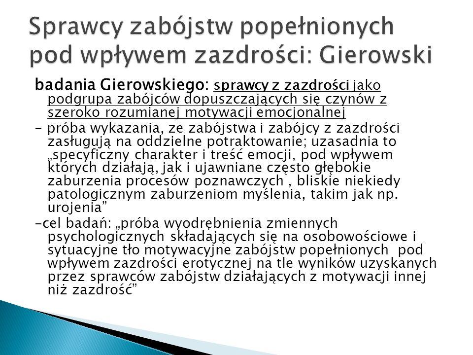 Sprawcy zabójstw popełnionych pod wpływem zazdrości: Gierowski