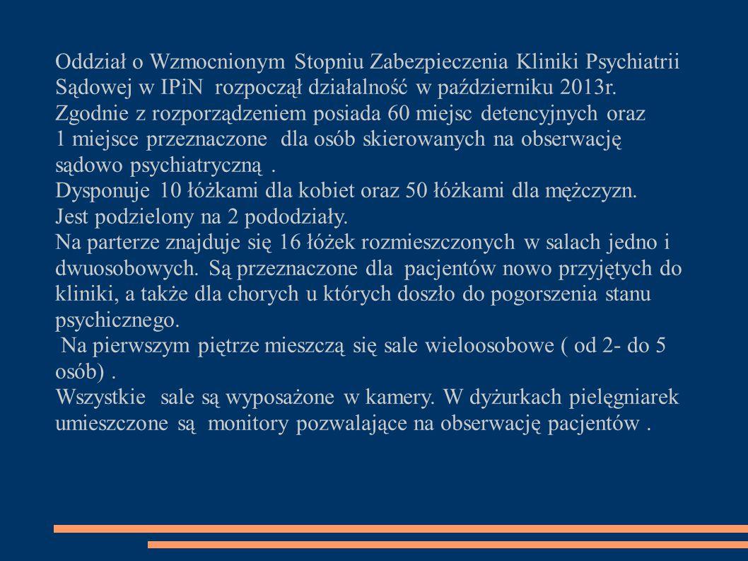 Oddział o Wzmocnionym Stopniu Zabezpieczenia Kliniki Psychiatrii Sądowej w IPiN rozpoczął działalność w październiku 2013r.