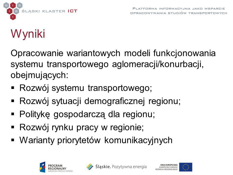 Wyniki Opracowanie wariantowych modeli funkcjonowania systemu transportowego aglomeracji/konurbacji, obejmujących: