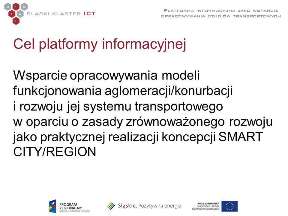 Cel platformy informacyjnej Wsparcie opracowywania modeli funkcjonowania aglomeracji/konurbacji i rozwoju jej systemu transportowego w oparciu o zasady zrównoważonego rozwoju jako praktycznej realizacji koncepcji SMART CITY/REGION