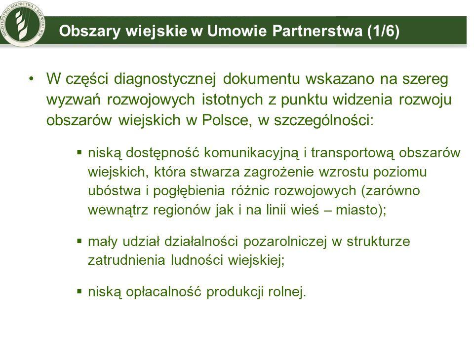 Obszary wiejskie w Umowie Partnerstwa (1/6)