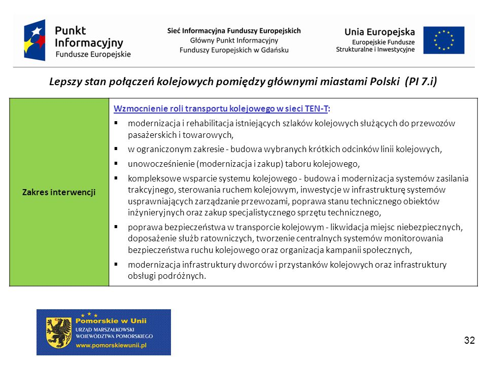 Lepszy stan połączeń kolejowych pomiędzy głównymi miastami Polski (PI 7.i)