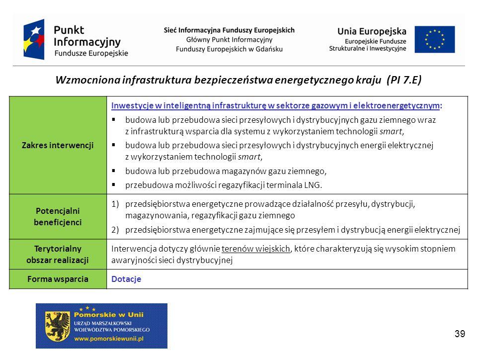 Wzmocniona infrastruktura bezpieczeństwa energetycznego kraju (PI 7.E)