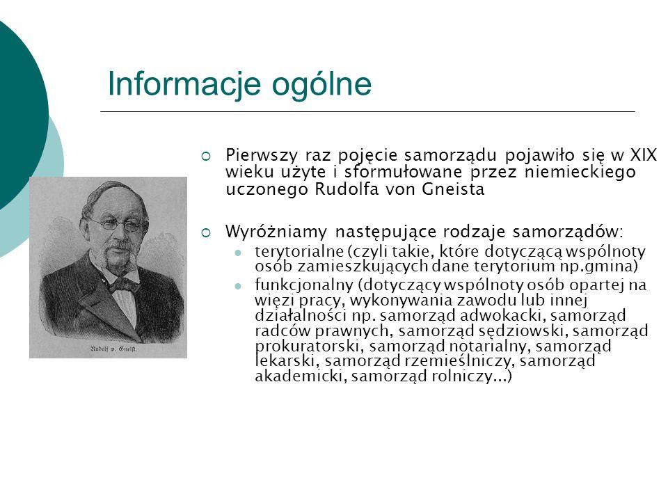 Informacje ogólne Pierwszy raz pojęcie samorządu pojawiło się w XIX wieku użyte i sformułowane przez niemieckiego uczonego Rudolfa von Gneista.
