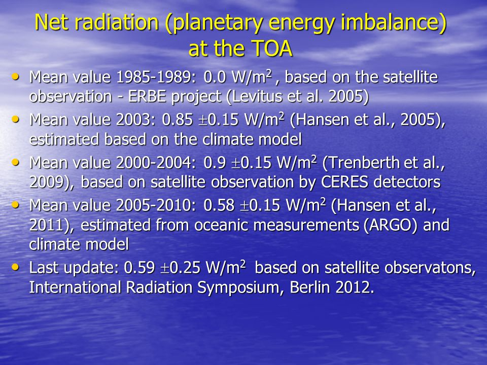 Net radiation (planetary energy imbalance) at the TOA