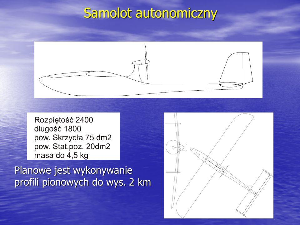 Samolot autonomiczny Planowe jest wykonywanie profili pionowych do wys. 2 km