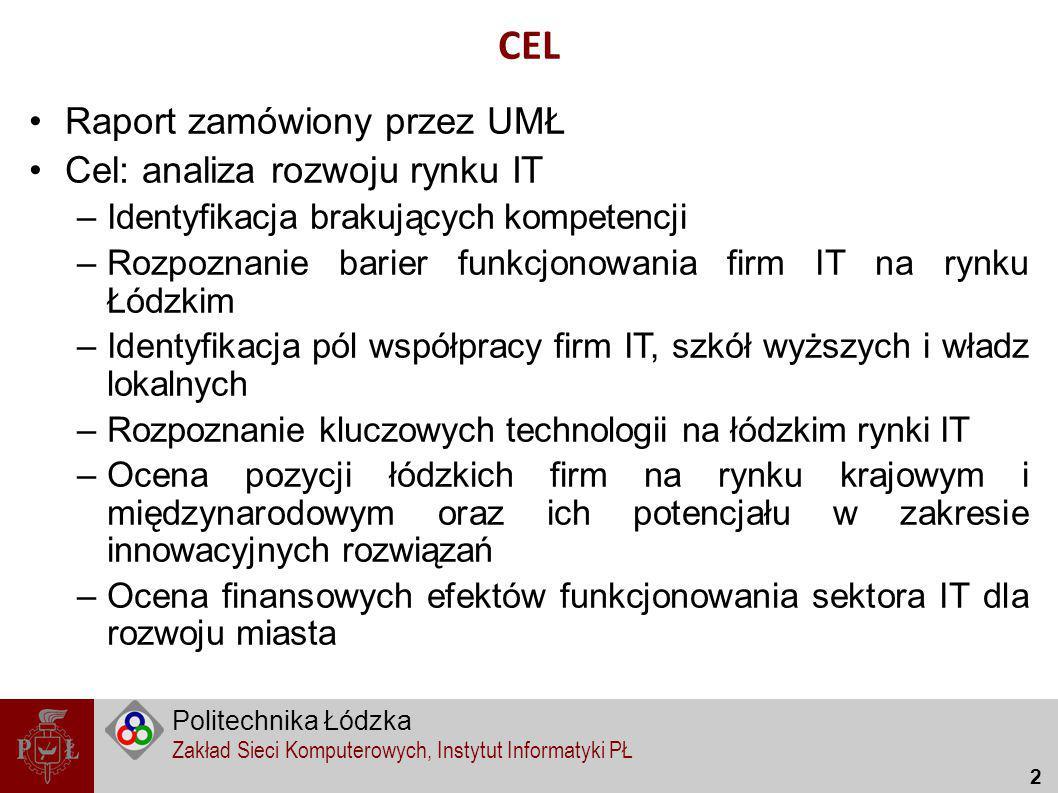 CEL Raport zamówiony przez UMŁ Cel: analiza rozwoju rynku IT
