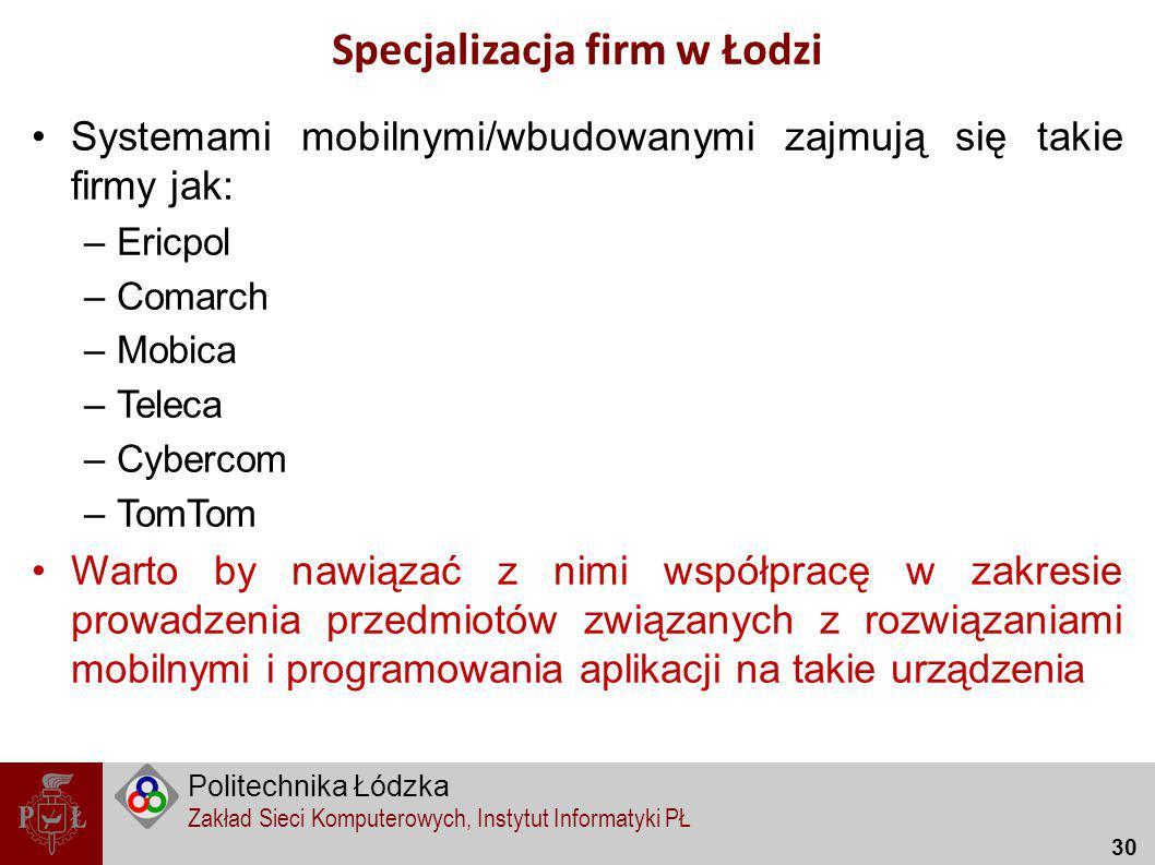 Specjalizacja firm w Łodzi