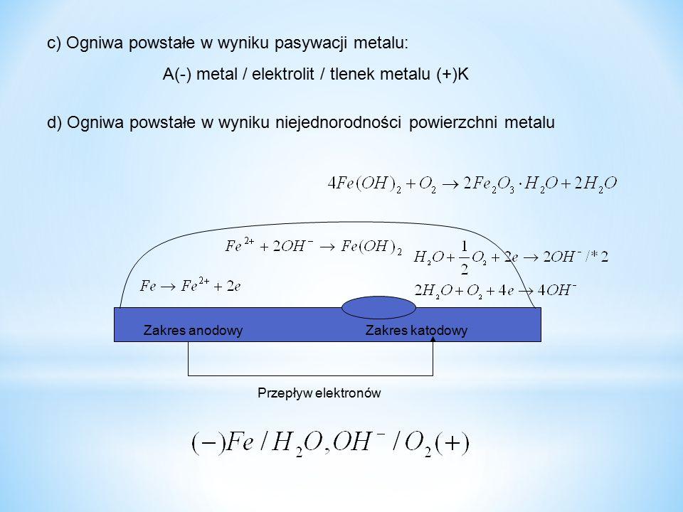 A(-) metal / elektrolit / tlenek metalu (+)K