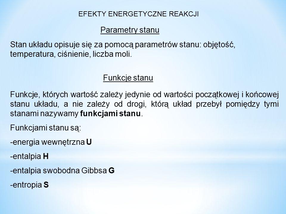 -entalpia swobodna Gibbsa G -entropia S