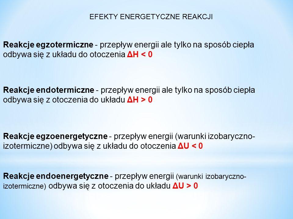 EFEKTY ENERGETYCZNE REAKCJI