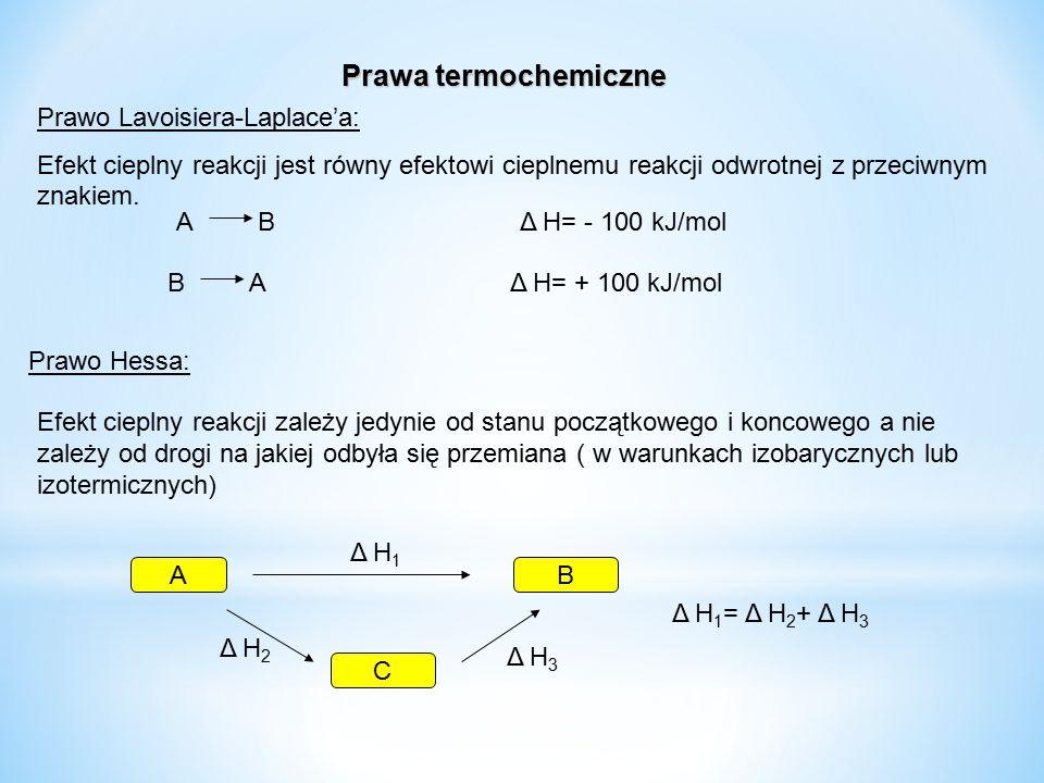 Prawa termochemiczne Prawo Lavoisiera-Laplace'a: