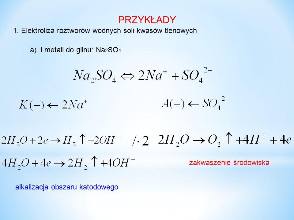 PRZYKŁADY 1. Elektroliza roztworów wodnych soli kwasów tlenowych