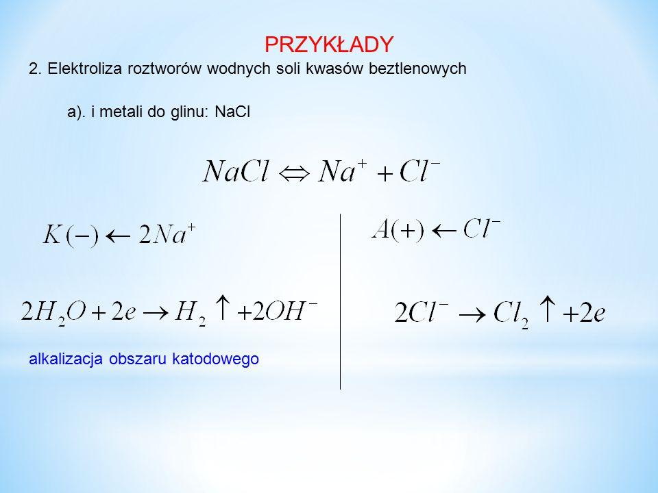 PRZYKŁADY 2. Elektroliza roztworów wodnych soli kwasów beztlenowych