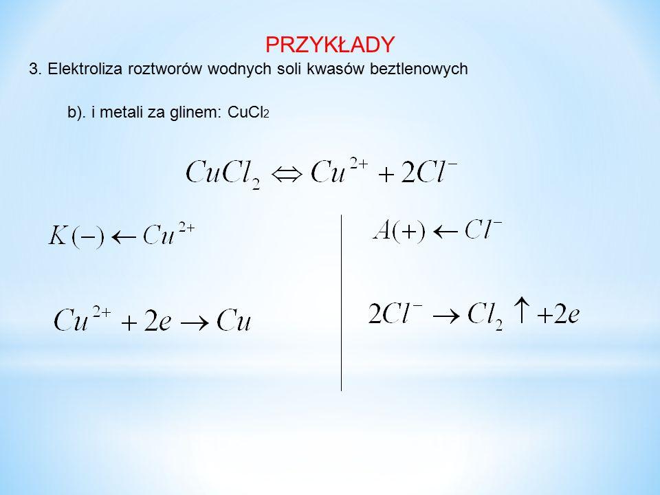 PRZYKŁADY 3. Elektroliza roztworów wodnych soli kwasów beztlenowych