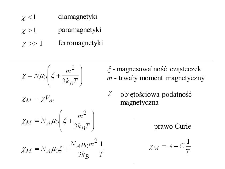  - magnesowalność cząsteczek m - trwały moment magnetyczny
