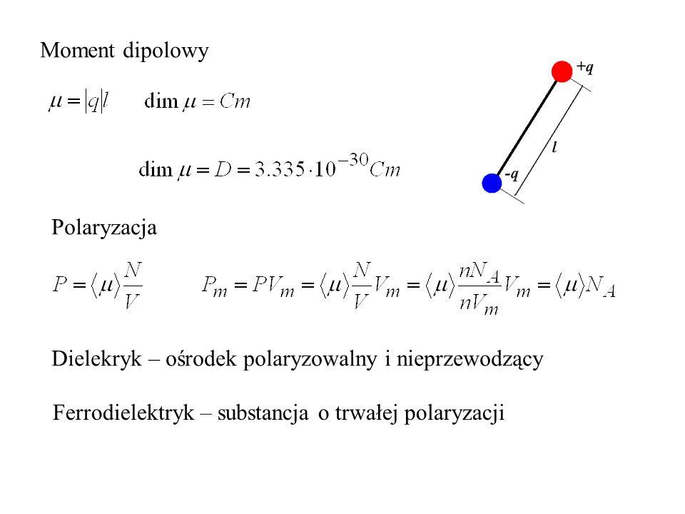 Moment dipolowy Polaryzacja. Dielekryk – ośrodek polaryzowalny i nieprzewodzący.