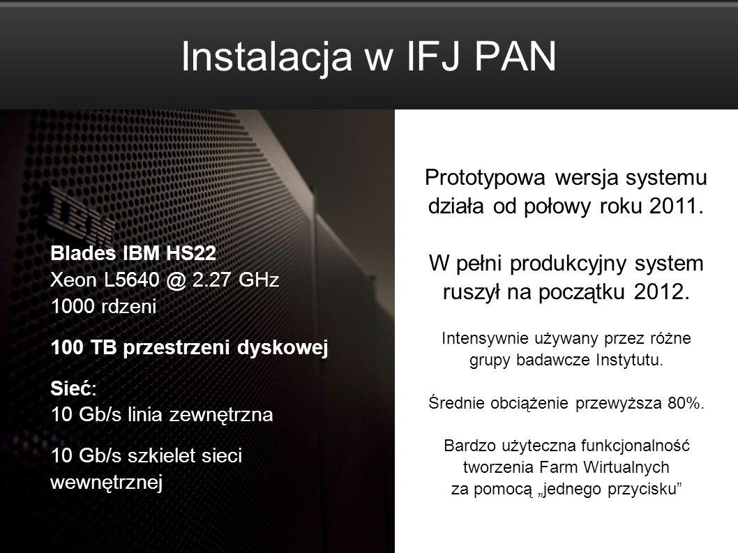 Instalacja w IFJ PAN Prototypowa wersja systemu działa od połowy roku 2011. W pełni produkcyjny system ruszył na początku 2012.