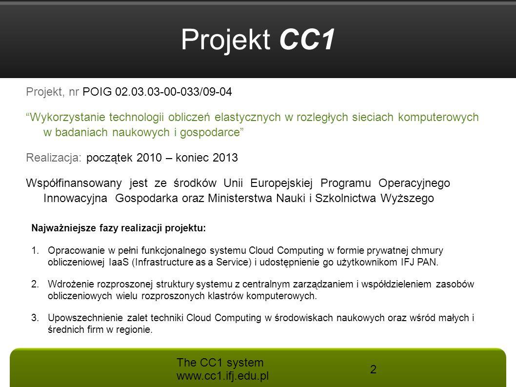Projekt CC1 Projekt, nr POIG 02.03.03-00-033/09-04