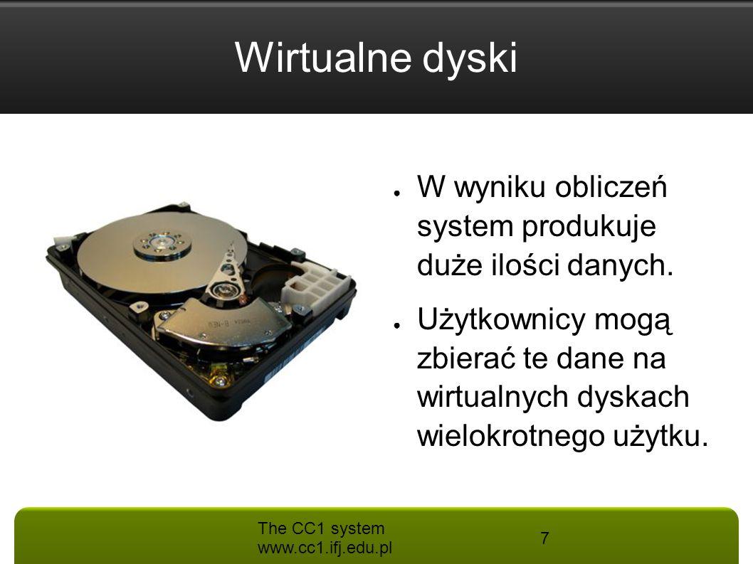 Wirtualne dyski W wyniku obliczeń system produkuje duże ilości danych.