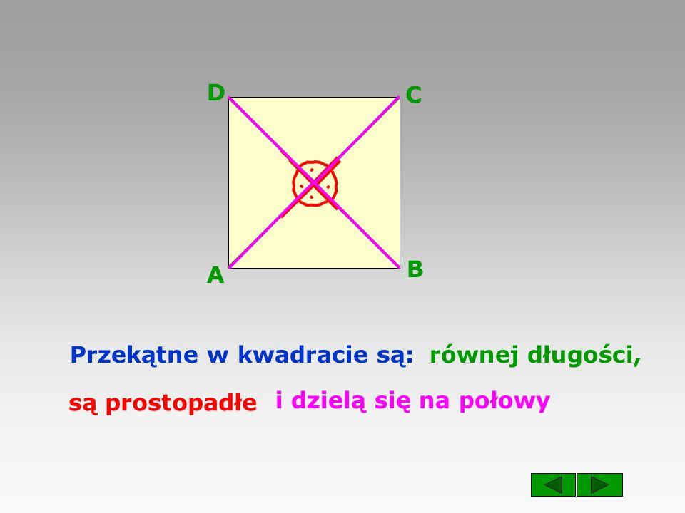 A B C D . . . . Przekątne w kwadracie są: równej długości, są prostopadłe i dzielą się na połowy