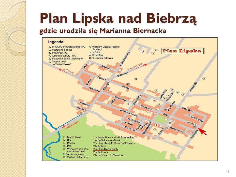 Plan Lipska nad Biebrzą gdzie urodziła się Marianna Biernacka