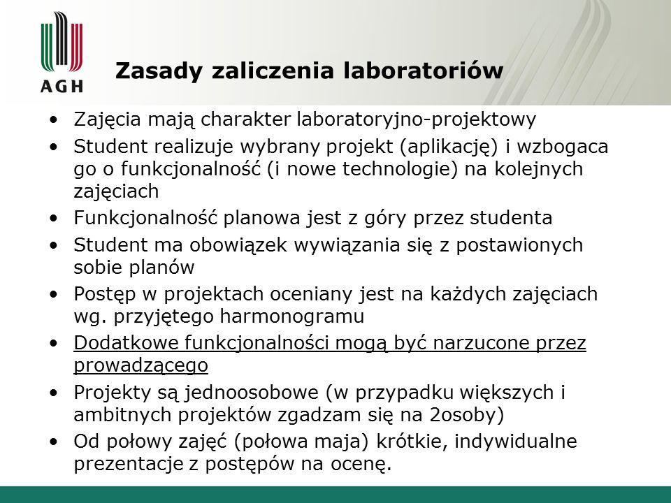 Zasady zaliczenia laboratoriów