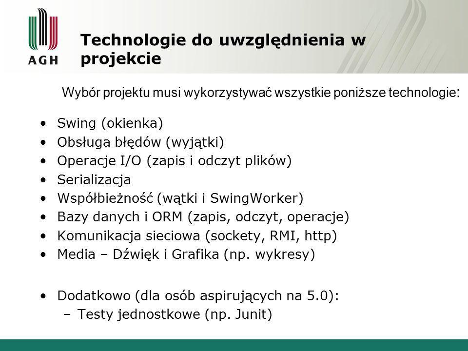 Technologie do uwzględnienia w projekcie