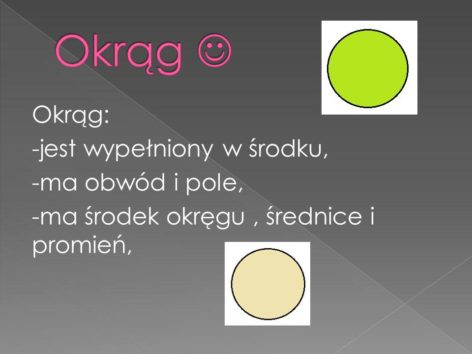 Okrąg  Okrąg: -jest wypełniony w środku, -ma obwód i pole, -ma środek okręgu , średnice i promień,