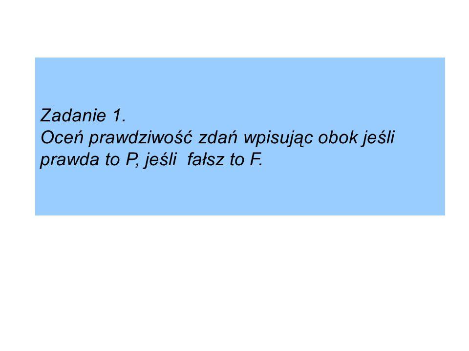 Zadanie 1. Oceń prawdziwość zdań wpisując obok jeśli prawda to P, jeśli fałsz to F.