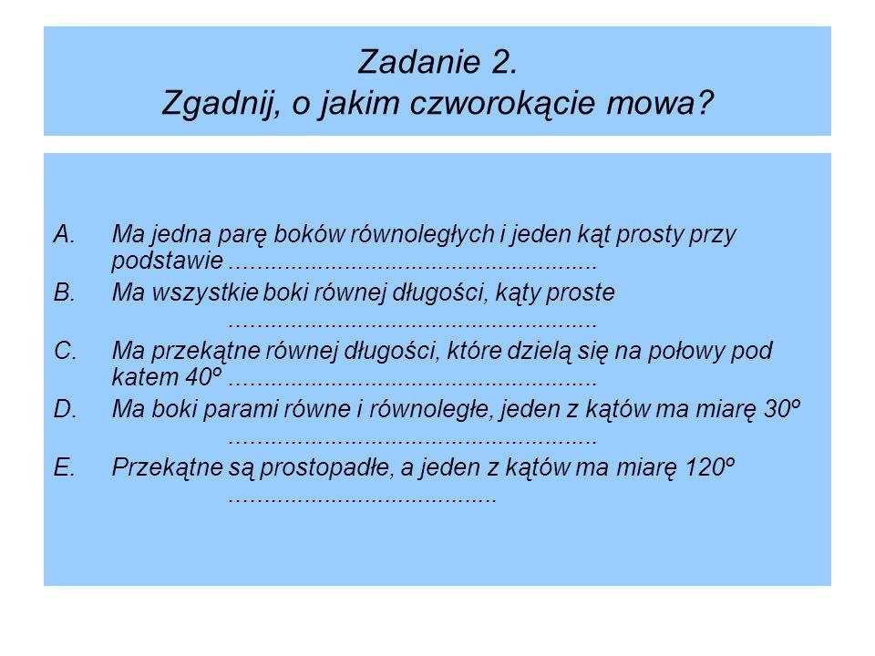 Zadanie 2. Zgadnij, o jakim czworokącie mowa