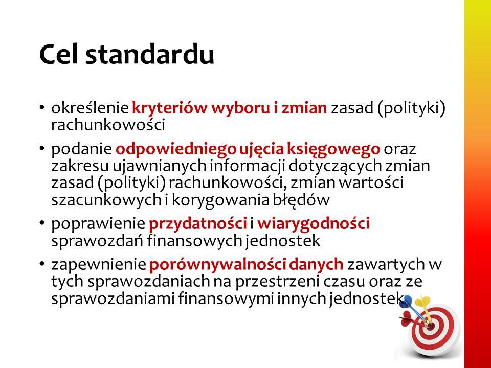 Cel standardu określenie kryteriów wyboru i zmian zasad (polityki) rachunkowości.