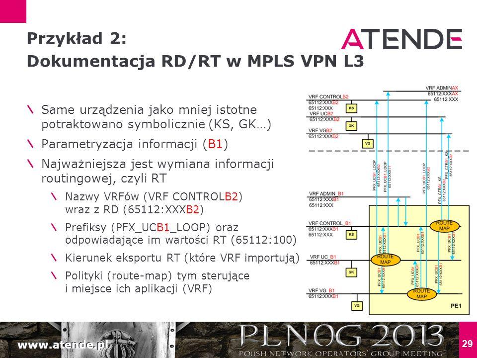 Przykład 2: Dokumentacja RD/RT w MPLS VPN L3