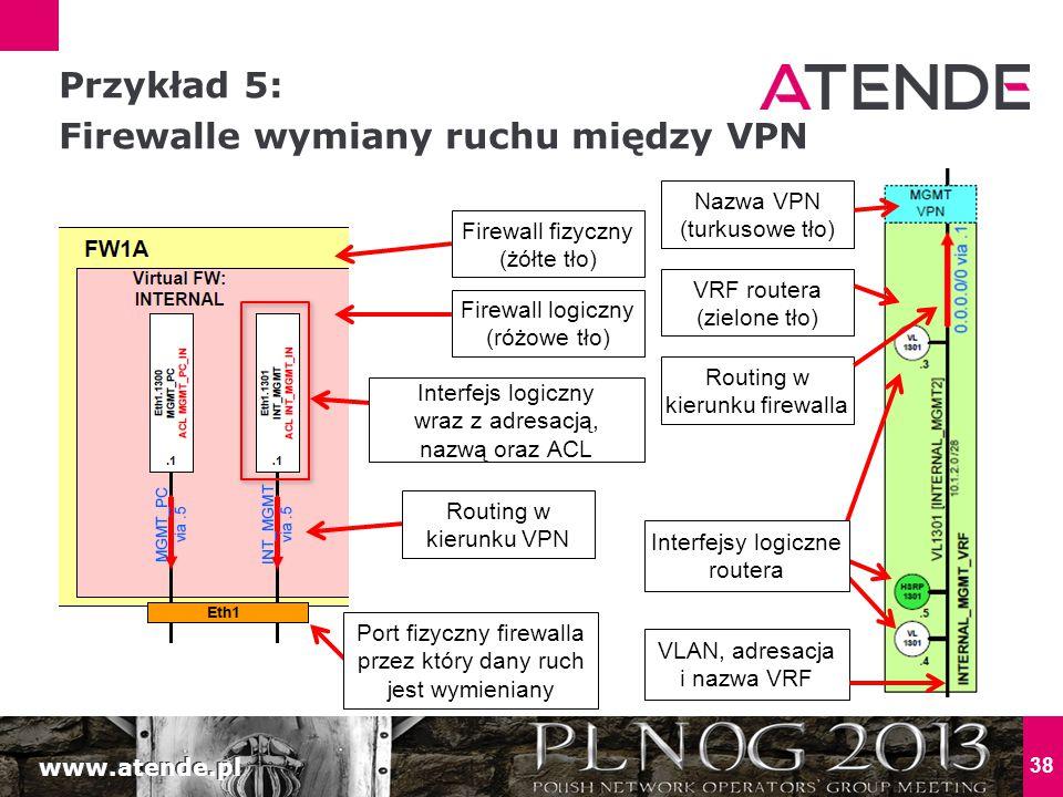 Przykład 5: Firewalle wymiany ruchu między VPN