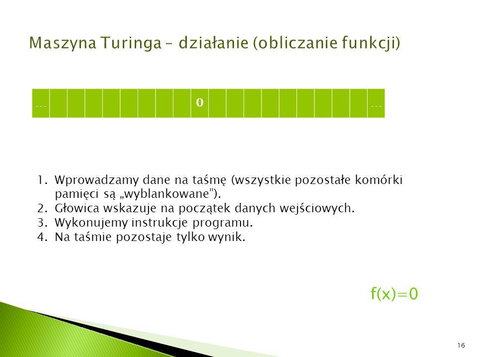 Maszyna Turinga – działanie (obliczanie funkcji)