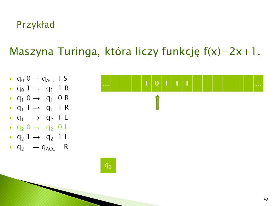 Maszyna Turinga, która liczy funkcję f(x)=2x+1.