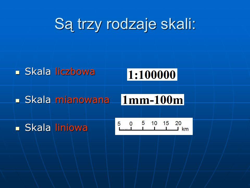 Są trzy rodzaje skali: Skala liczbowa Skala mianowana Skala liniowa