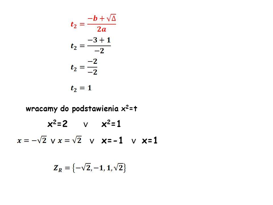 wracamy do podstawienia x2=t