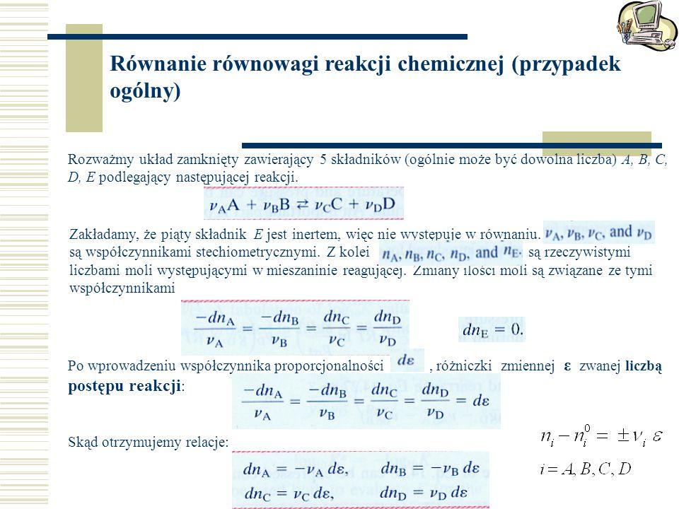 Równanie równowagi reakcji chemicznej (przypadek ogólny)