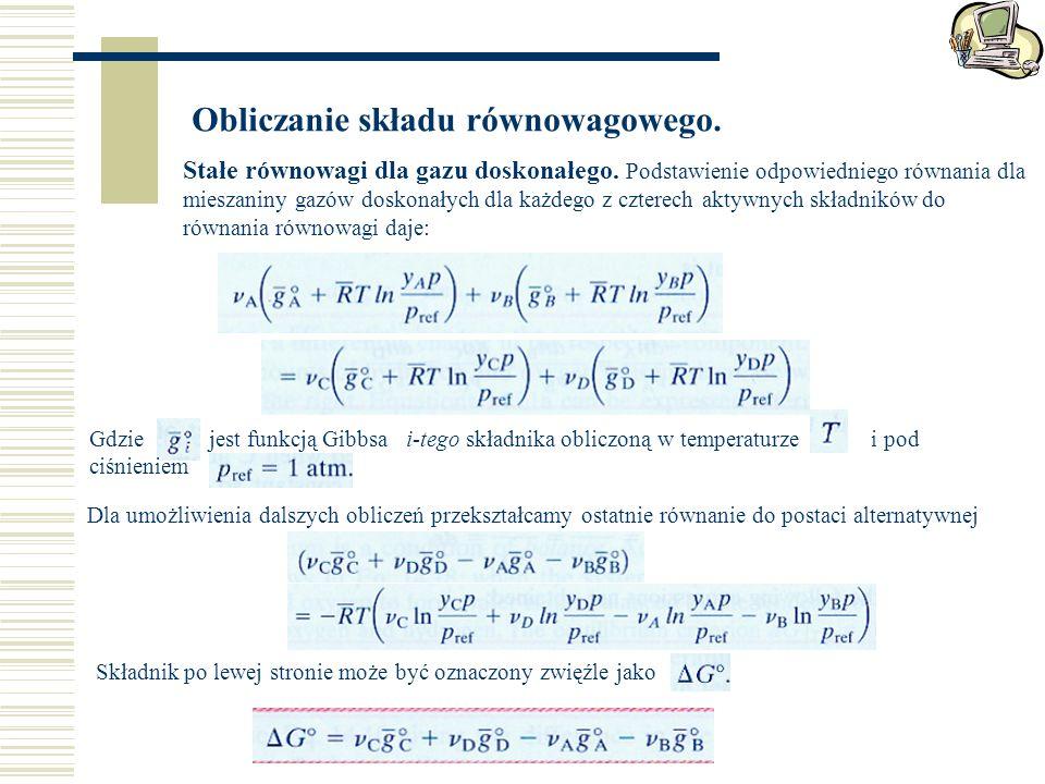 Obliczanie składu równowagowego.