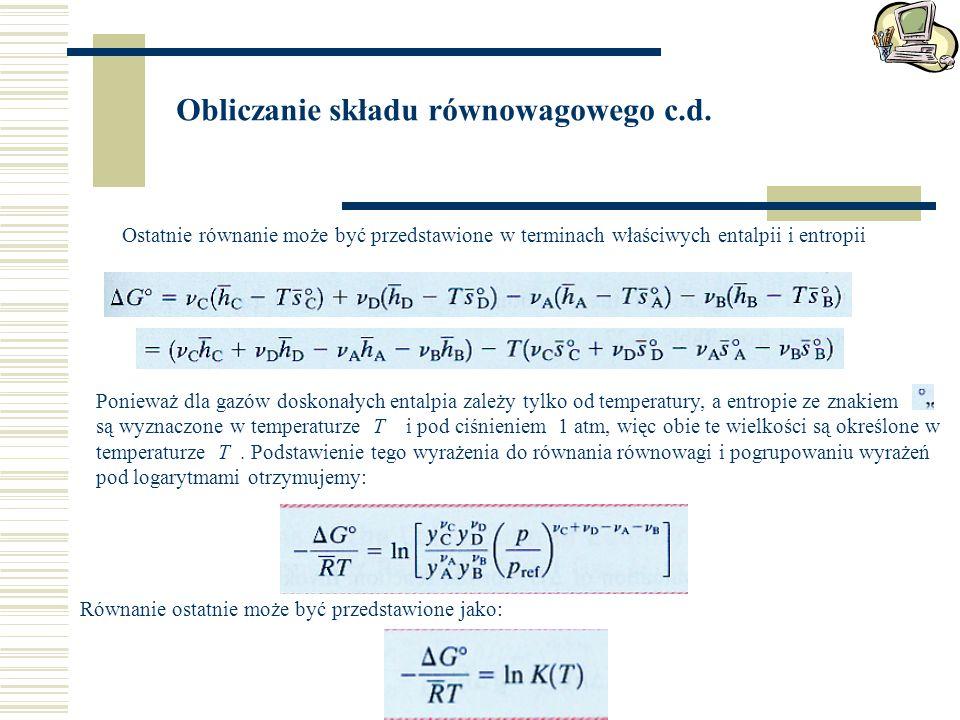 Obliczanie składu równowagowego c.d.