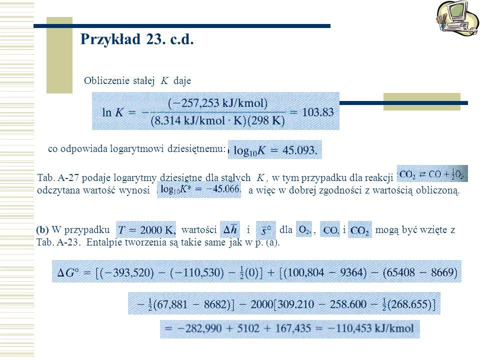 Przykład 23. c.d. Obliczenie stałej K daje
