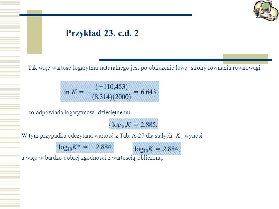 Przykład 23. c.d. 2 Tak więc wartość logarytmu naturalnego jest po obliczenie lewej strony równania równowagi.