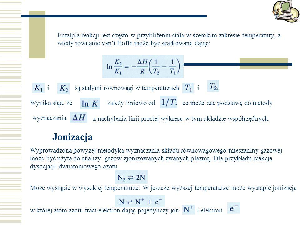 Entalpia reakcji jest często w przybliżeniu stała w szerokim zakresie temperatury, a wtedy równanie van't Hoffa może być scałkowane dając: