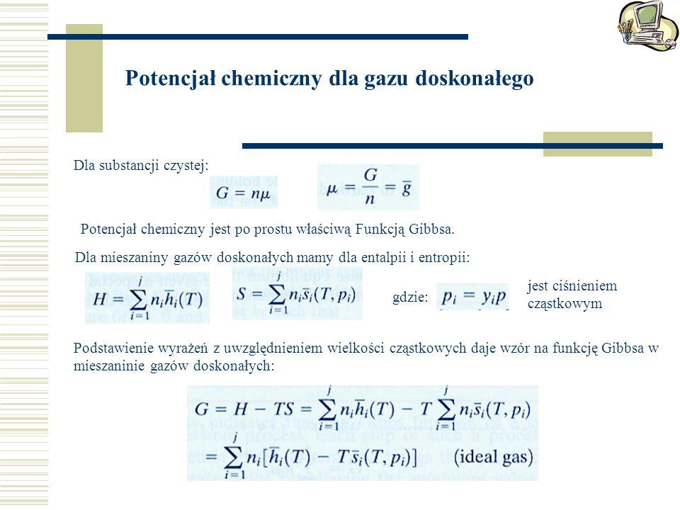 Potencjał chemiczny dla gazu doskonałego