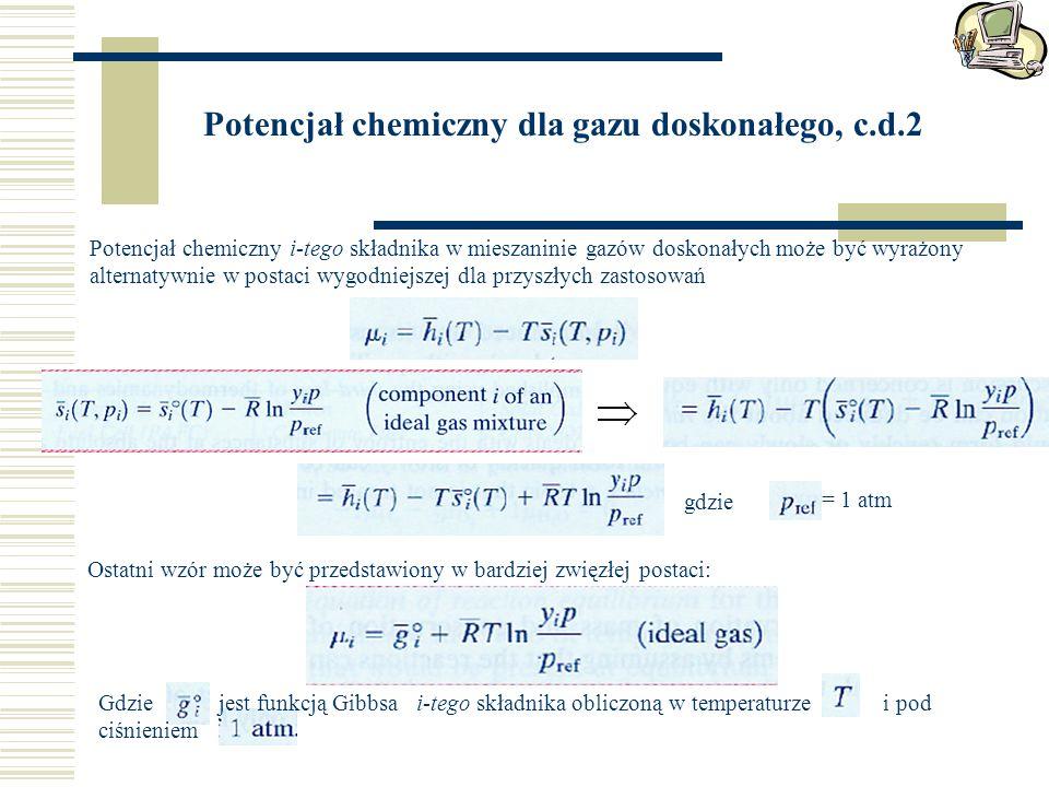 Potencjał chemiczny dla gazu doskonałego, c.d.2