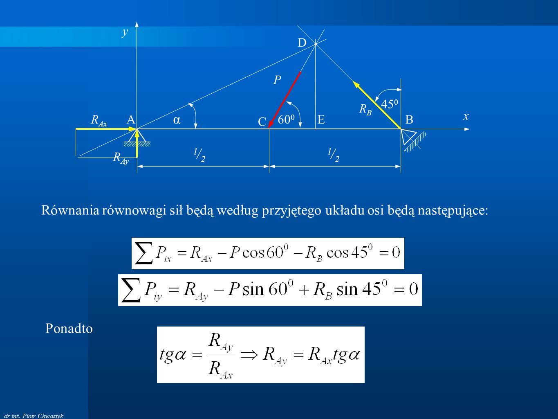 y D. P. 450. RB. A. x. RAx. α. C. 600. E. B. l/2. l/2. RAy. Równania równowagi sił będą według przyjętego układu osi będą następujące: